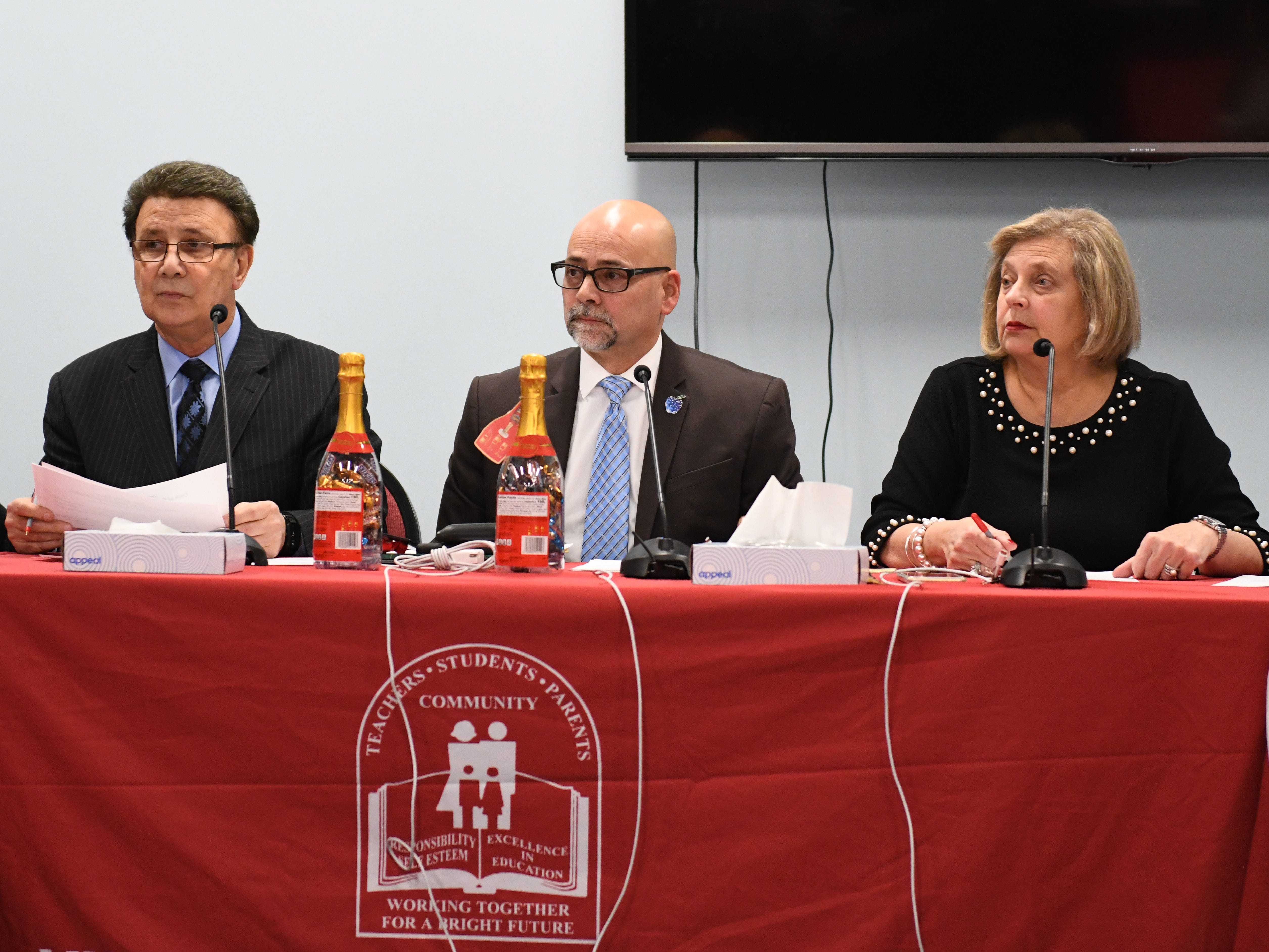 From left to right, Robert DeSanto, Scott E. English and Superintendent Mary Gruccio are seen here during a Vineland Board of Education reorganization meeting on Wednesday, January 2, 2019.