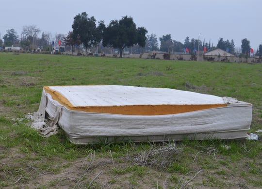 A mattress was discarded at an empty field at Houston Avenue and Goddard Street in north Visalia. Tulare County offers a collection program that's part of a statewide effort that has prevented more than 3 million mattresses ending up in landfills.