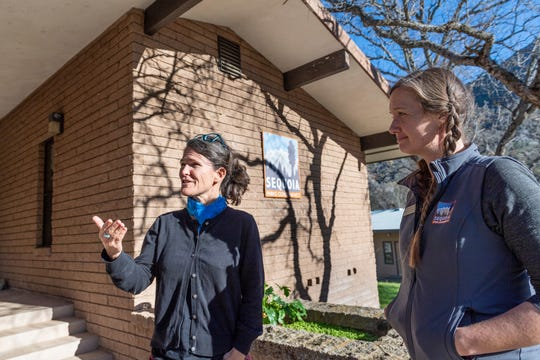 Executive Director Savannah Boiano, left, and Katie Wightman discuss the the impact of the shutdown to the Sequoia Parks Conservancy during the partial shutdown on Wednesday, January 2, 2019. Officials announced that the entire park would be closed this evening.