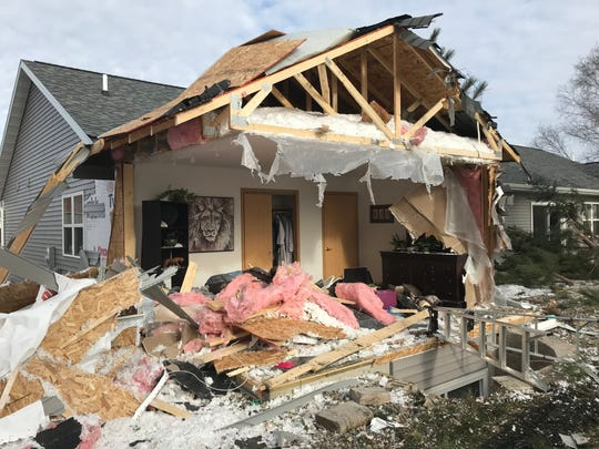 A semi truck drove off State 29 and crashed into the back of this home in the 4900 block of Annabelle Court in the village of Weston.