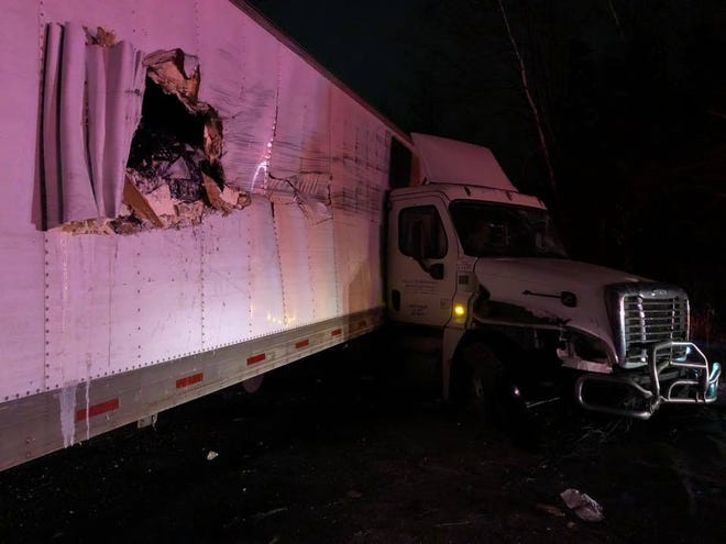 A semi tractor trailer hit three homes in a Weston neighborhood early Thursday morning after driving off of State 29.
