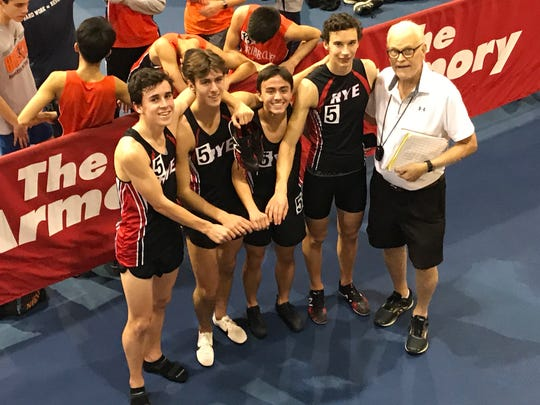 Jim Yedowitz (r) Dec. 21, 2018 with his Rye record-setting 4xmile team of (L-R) Cian Galligan, Bradley Squarek, Owen Nguyen and John Goldzser.