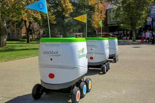 Purchase-based PepsiCo is testing self-driving robots as a way to deliver snacks to college students. The robots are made by Robby Technologies.