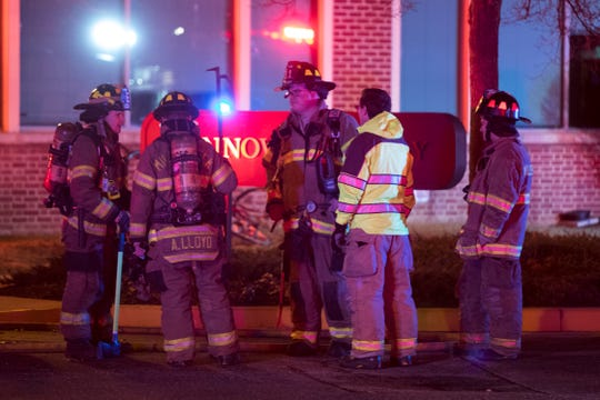 First responders work the scene of a fire and potential hazmat situation at the Biomedical Engineering building on Innovation Way in Newark Wednesday night.