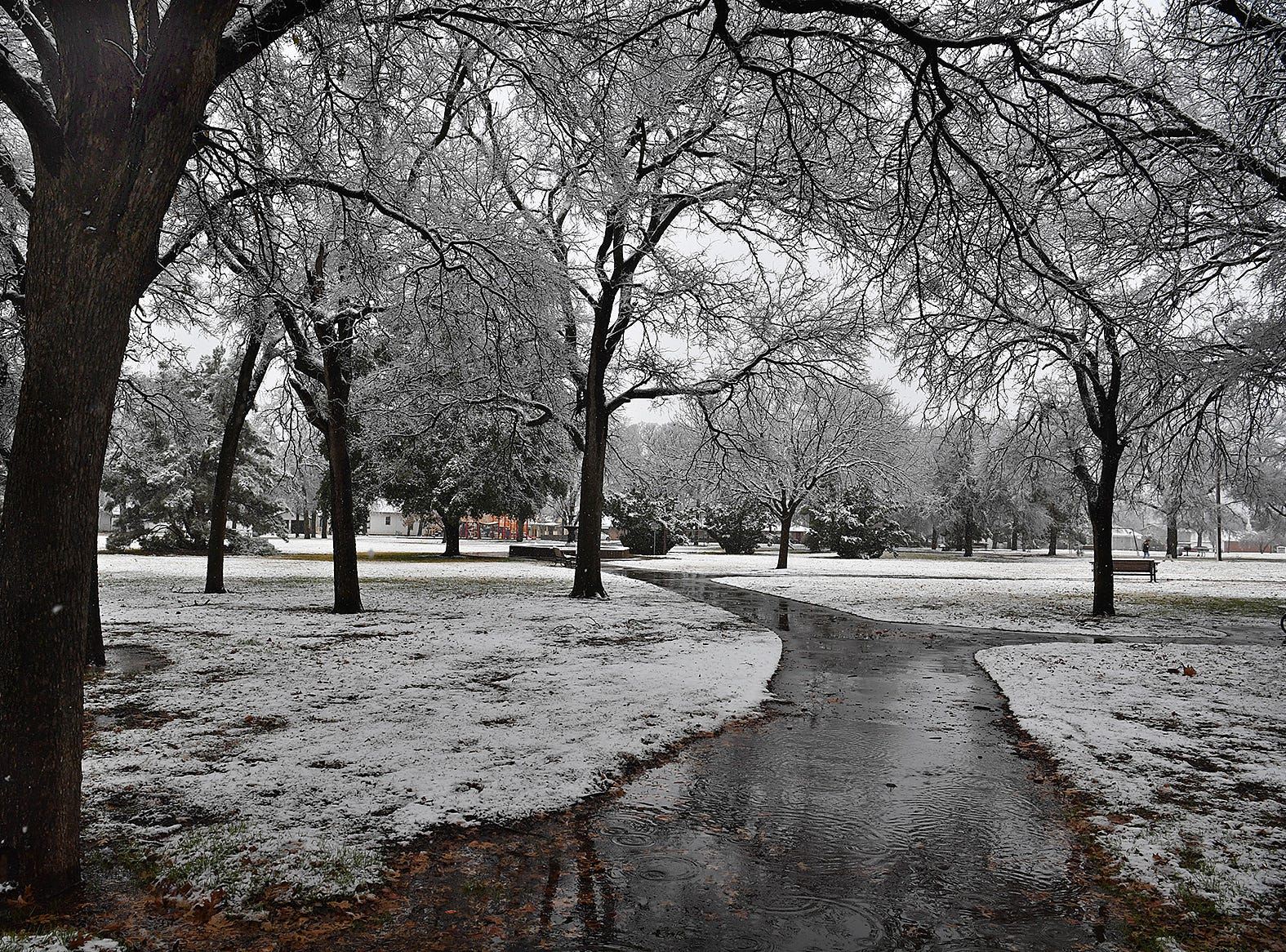 Bridwell Park took on the look of a winter wonderland Thursday afternoon as snow continued to fall.