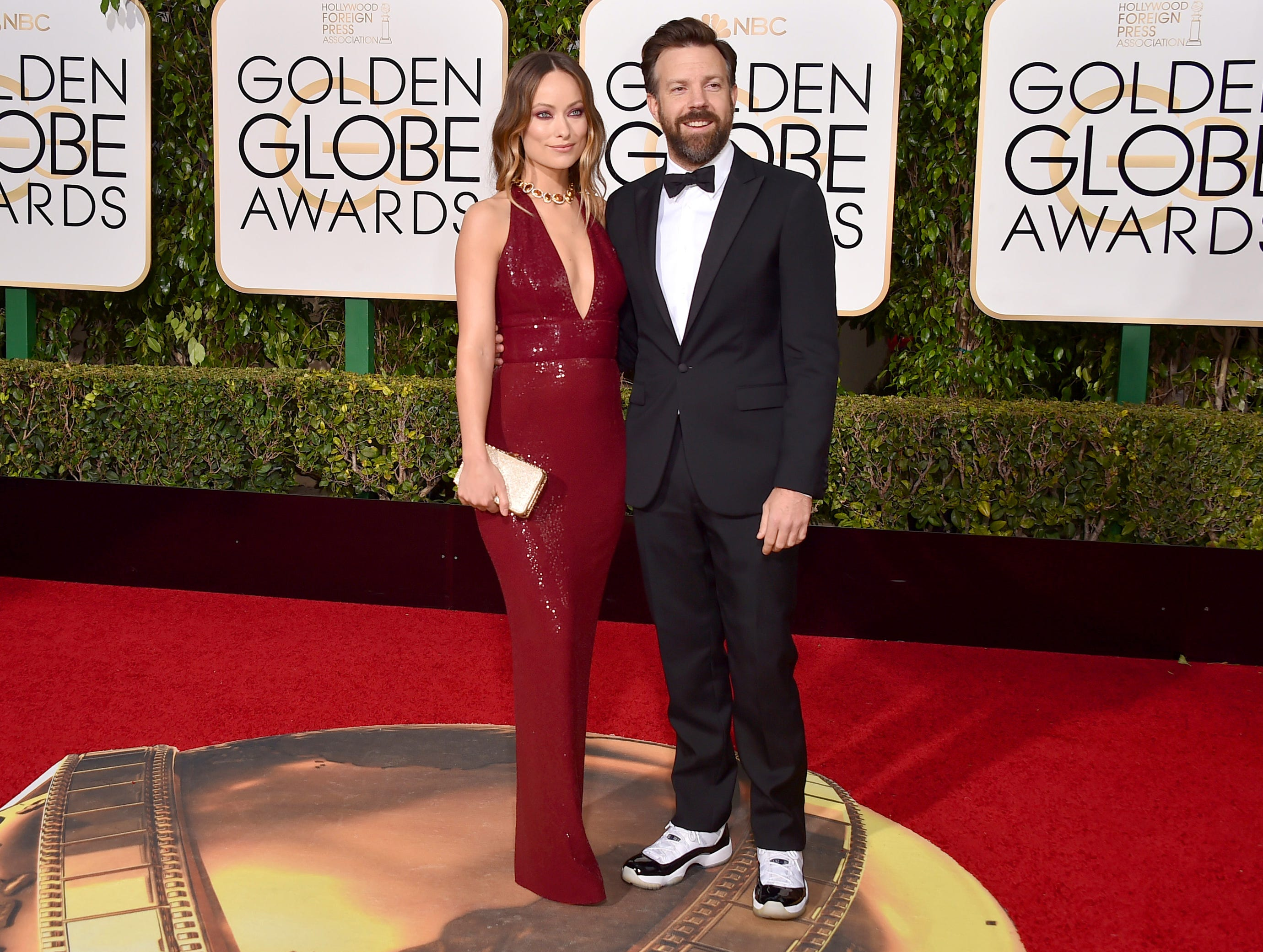 Olivia Wilde, left, and Jason Sudeikis arrive at the 73rd annual Golden Globe Awards on Sunday, Jan. 10, 2016, at the Beverly Hilton Hotel in Beverly Hills, Calif. (Photo by Jordan Strauss/Invision/AP) ORG XMIT: CACJ238