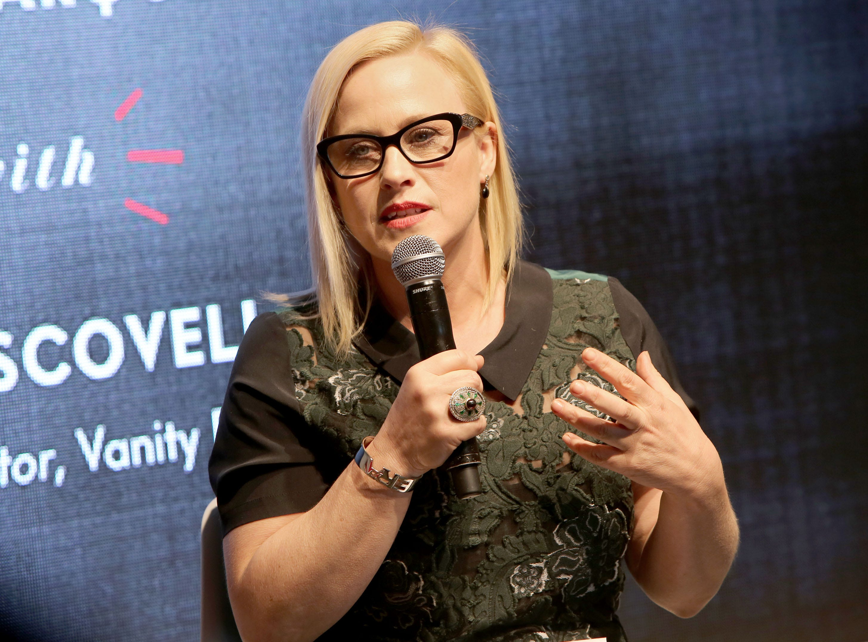 CULVER CITY, CA - FEBRUARY 26:  Founder and Oscar-winning actress Patricia Arquette speaks onstage during the 'Equal Means Equal Conversation' at the 2016 Vanity Fair Social Club #VFSC for Oscar Week at PLATFORM on February 26, 2016 in Culver City, California.  (Photo by Rachel Murray/Getty Images for Vanity Fair) ORG XMIT: 605422887 ORIG FILE ID: 512560886