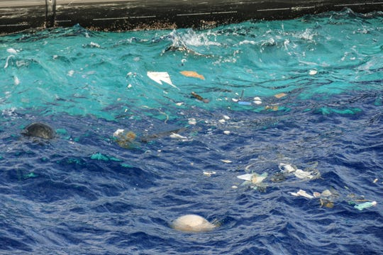 Plastic accumulating in System 001, The Ocean Cleanup's device which it deployed in the Great Pacific Garbage Patch in October 2018 to clean up plastic trash.