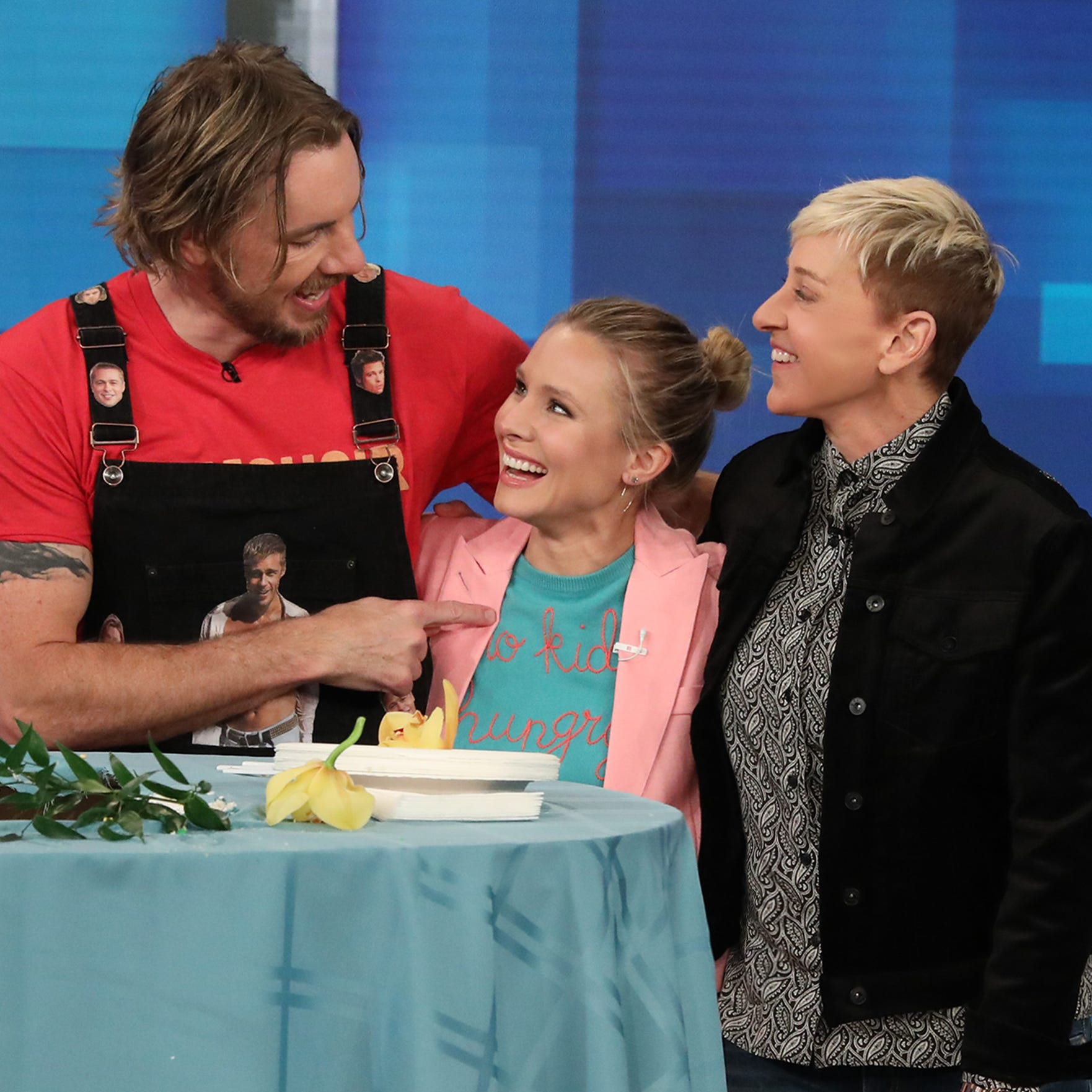 Dax Shepard with Kristen Bell and Ellen DeGeneres