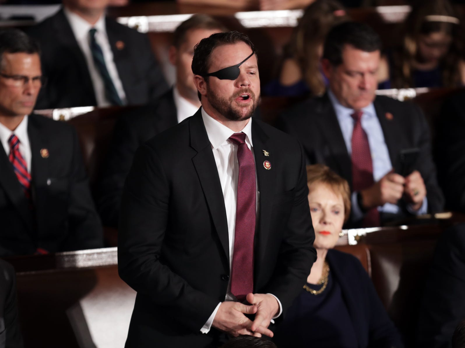 Member-elect Dan Crenshaw (R-TX) votes for House Majority Leader Kevin McCarthy (R-CA) during the first session of the 116th Congress.