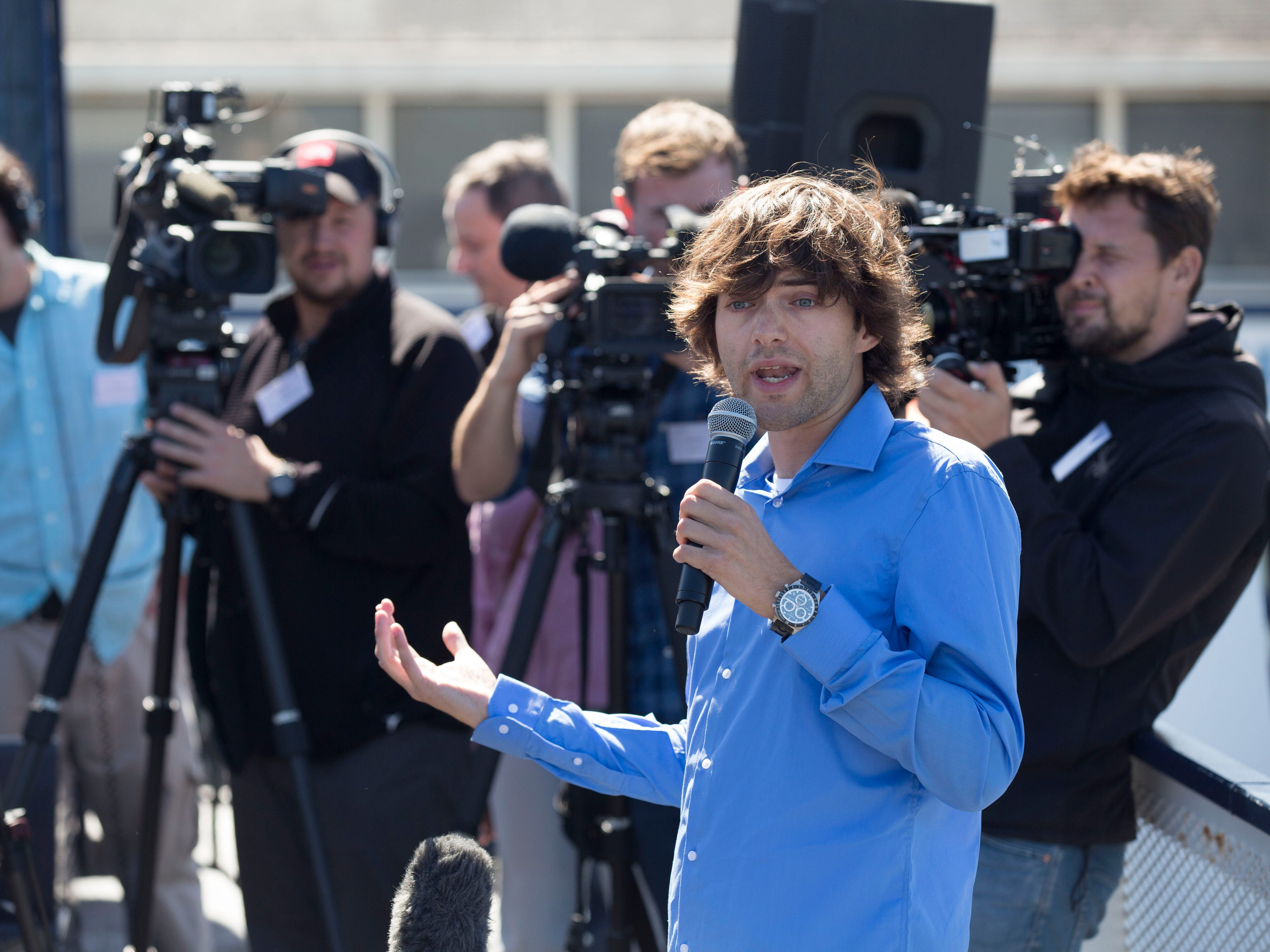 The Ocean Cleanup Project CEO and Founder Boyan Slat, 24, addresses the media at Pier 41 in San Francisco on Sept. 8, 2018.
