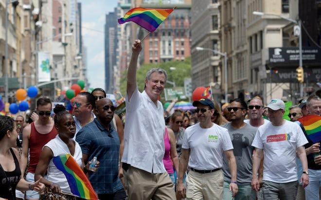 New York Mayor Bill de Blasio participates June 25, 2017, in the annual New York Pride March in New York City.