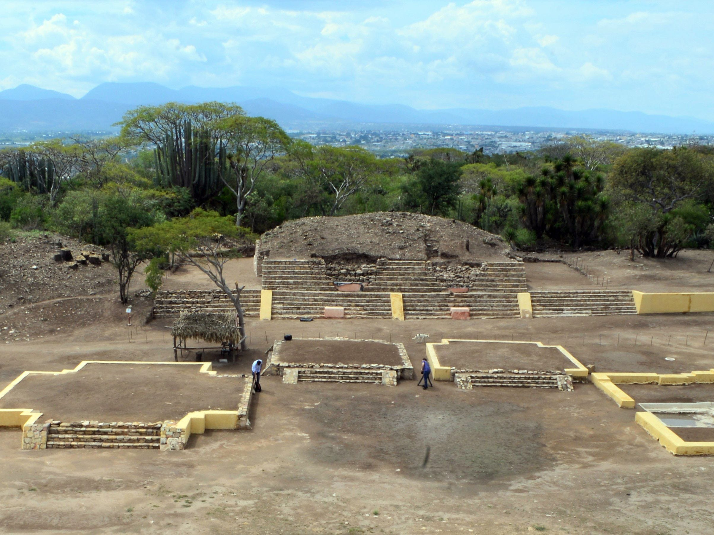 Handout picture released by Mexico's National Institute of Anthropology and History (INAH) taken on October 12, 2018 showing the first temple recently discovered of pre-Hispanic fertility god Xipe Totec (The Flayed Lord), in the archaeological site of Ndachjian-Tehuacan, in the Mexican state of Puebla.