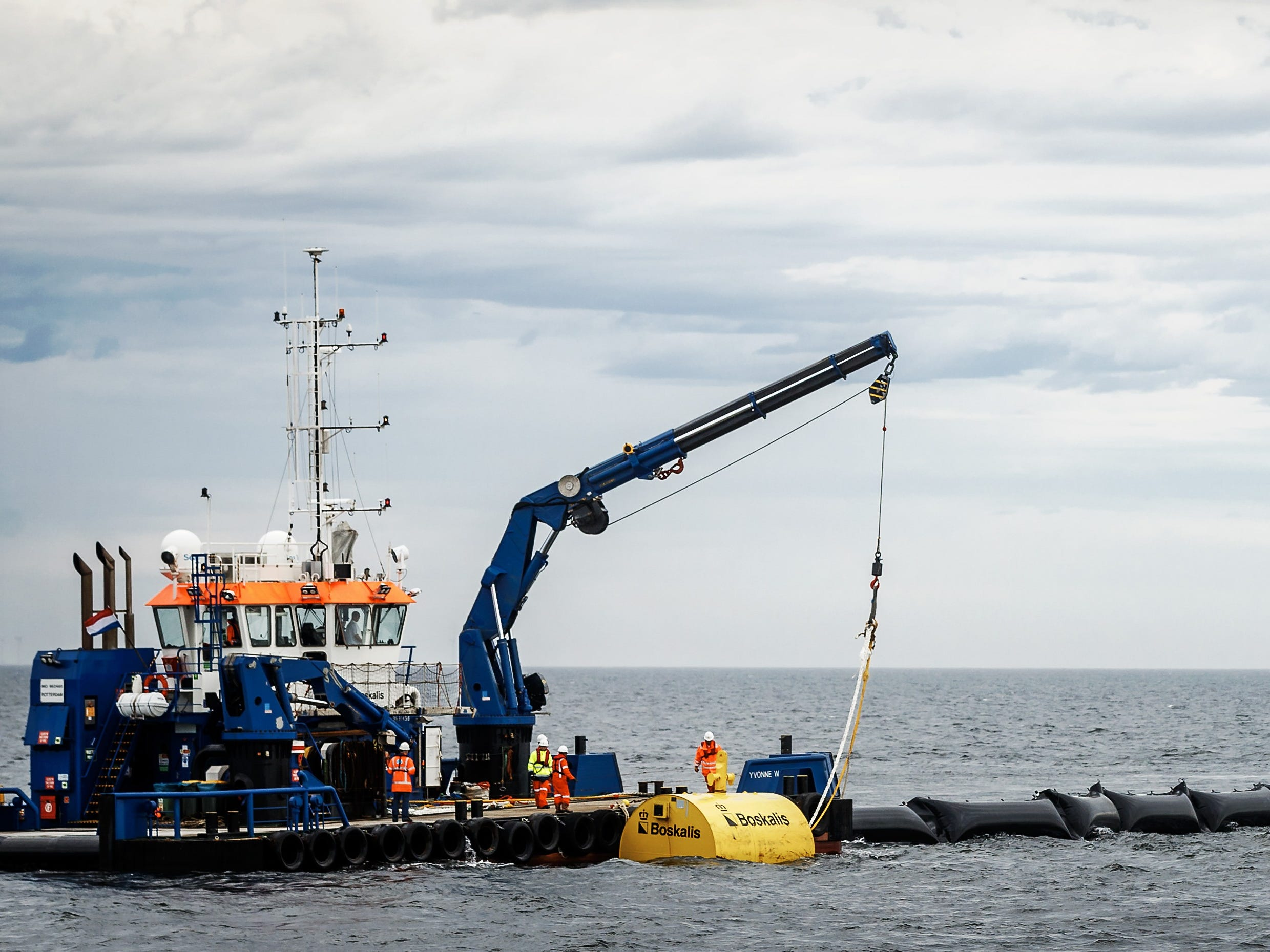 The first prototype of The Ocean Cleanup off the Dutch coast in Scheveningen Netherlands on June 23, 2016.. 