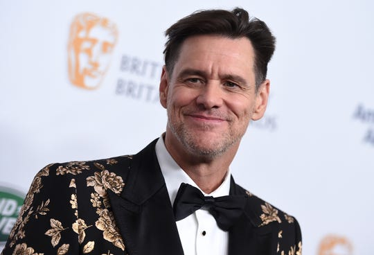 Jim Carrey arrives at the 2018 BAFTA Los Angeles Britannia Awards at the Beverly Hilton on Friday, Oct. 26, 2018, in Beverly Hills, Calif. (Photo by Jordan Strauss/Invision/AP) ORG XMIT: CANS6460
