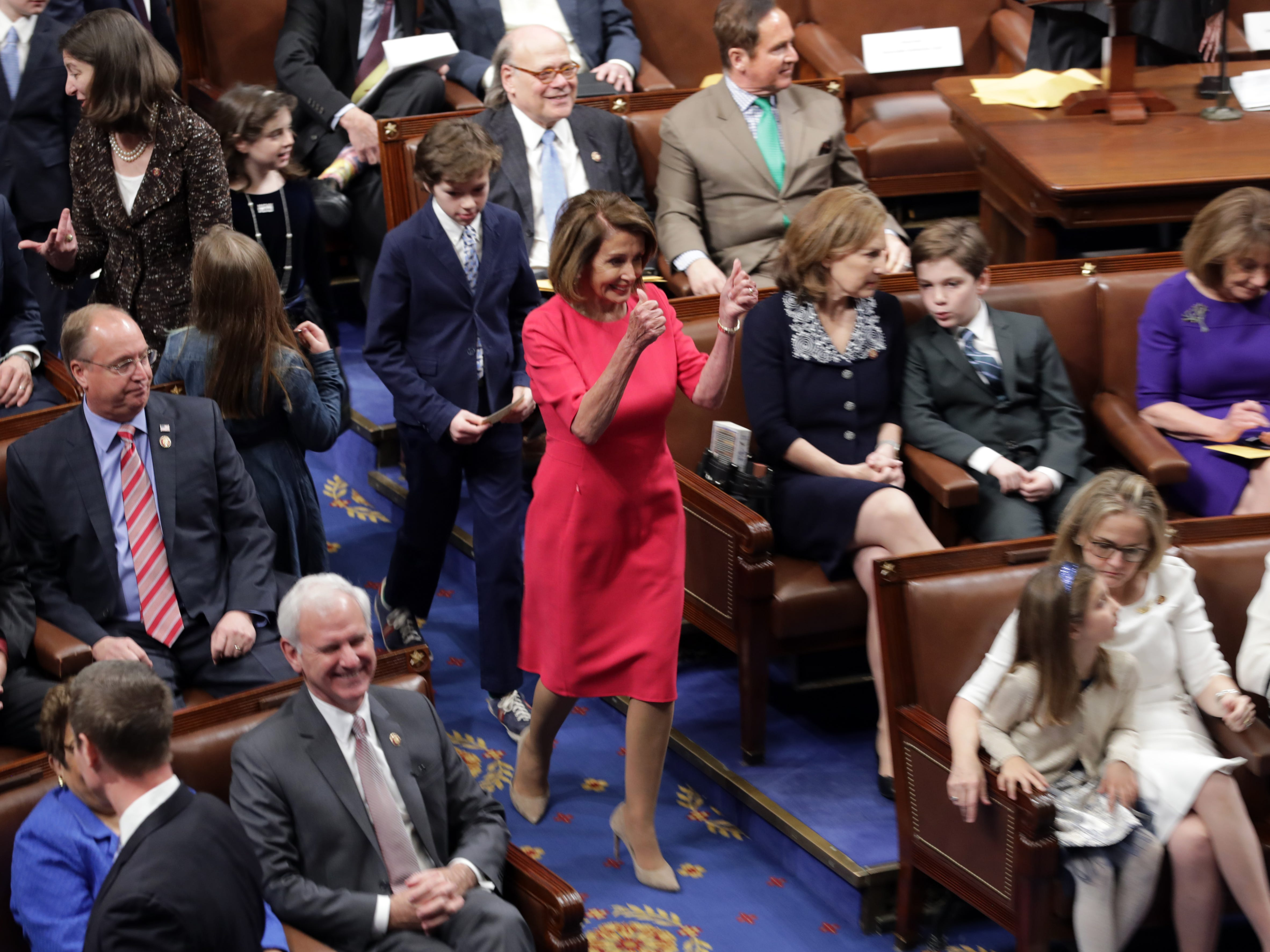 WASHINGTON, DC - JANUARY 3: Speaker-designate Rep. Nancy Pelosi (D-CA) enters the chamber during the first session of the 116th Congress at the U.S. Capitol January 03, 2019 in Washington, DC. Under the cloud of a partial federal government shutdown, Pelosi will reclaim her former title as Speaker of the House and her fellow Democrats will take control of the House of Representatives for the second time in eight years. (Photo by Chip Somodevilla/Getty Images) ORG XMIT: 775276804 ORIG FILE ID: 1076634866