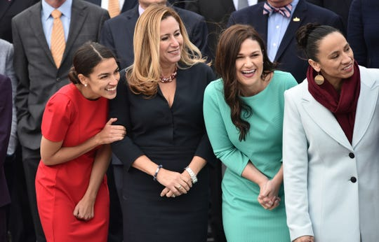 (From left) Reps. Alexandria Ocasio-Cortez (D-N.Y.), Debbie Mucarsel-Powell (D-Fla.), Abby Finkenauer (D-Iowa) and Sharice Davids (D-Kan.)  in Washington, D.C., on November 14, 2018.