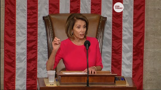 Newly elected Speaker of the House Nancy Pelosi addresses the 116th Congress for the first time after being sworn in Thursday.