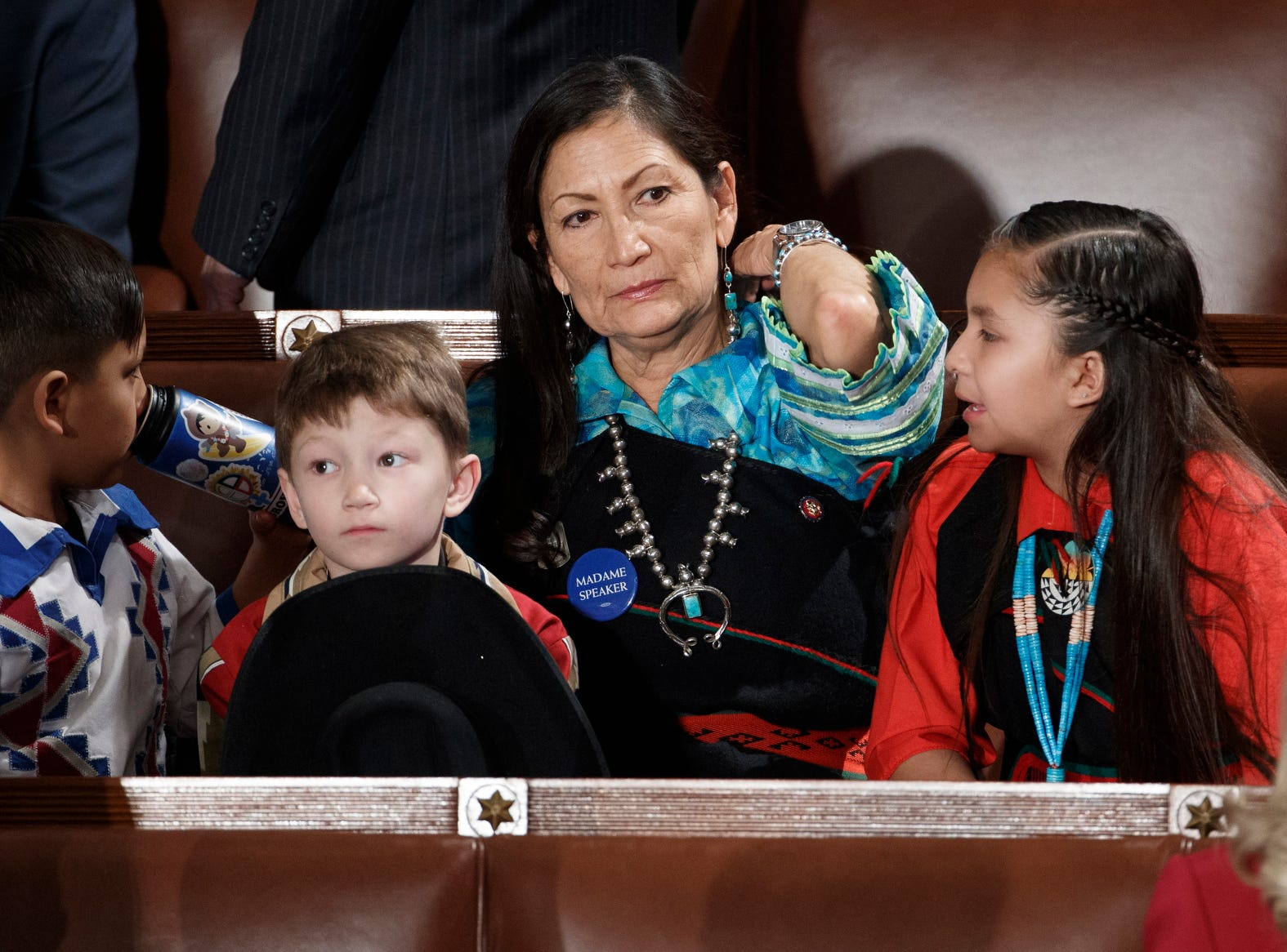 Democratic Representative Deb Haaland is seen during the opening session of the 116th Congress.