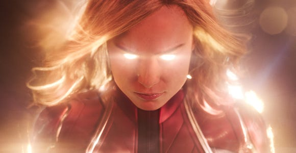 "Captain Marvel (Brie Larson) explodes into the Marvel universe in her own solo movie a month before she has a role in ""Avengers: Endgame."""