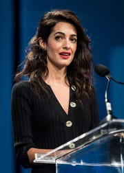 Human rights lawyer Amal Clooney giving a speech on October 12, 2018 in Philadelphia.