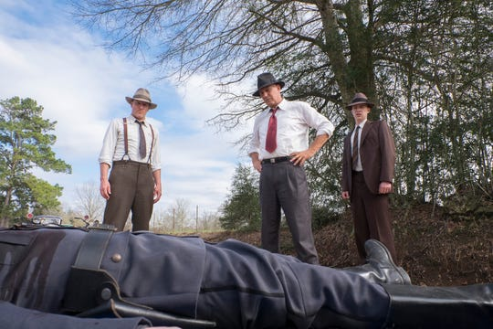 "Woody Harrelson (far left), Kevin Costner and Thomas Mann are lawmen hunting down Bonnie and Clyde in Netflix's ""Highwaymen"" (March 29)."