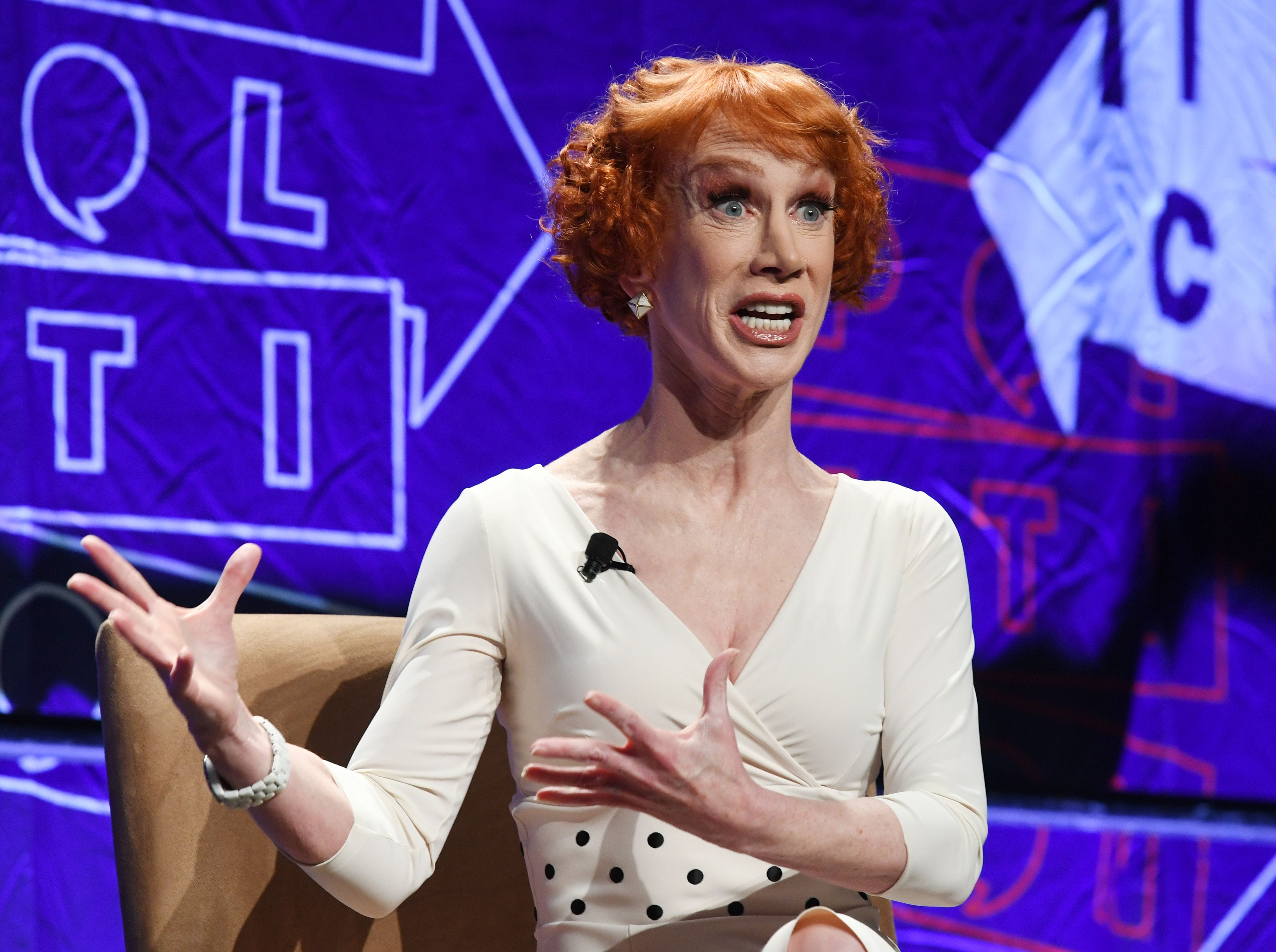 Comedian Kathy Griffin speaks at the 'How to Beat Trump' panel at the 2018 Politicon in Los Angeles, California on October 20, 2018. - The two day event covers all things political with dozens of high profile political figures. (Photo by Mark RALSTON / AFP)MARK RALSTON/AFP/Getty Images ORIG FILE ID: AFP_1A67J9