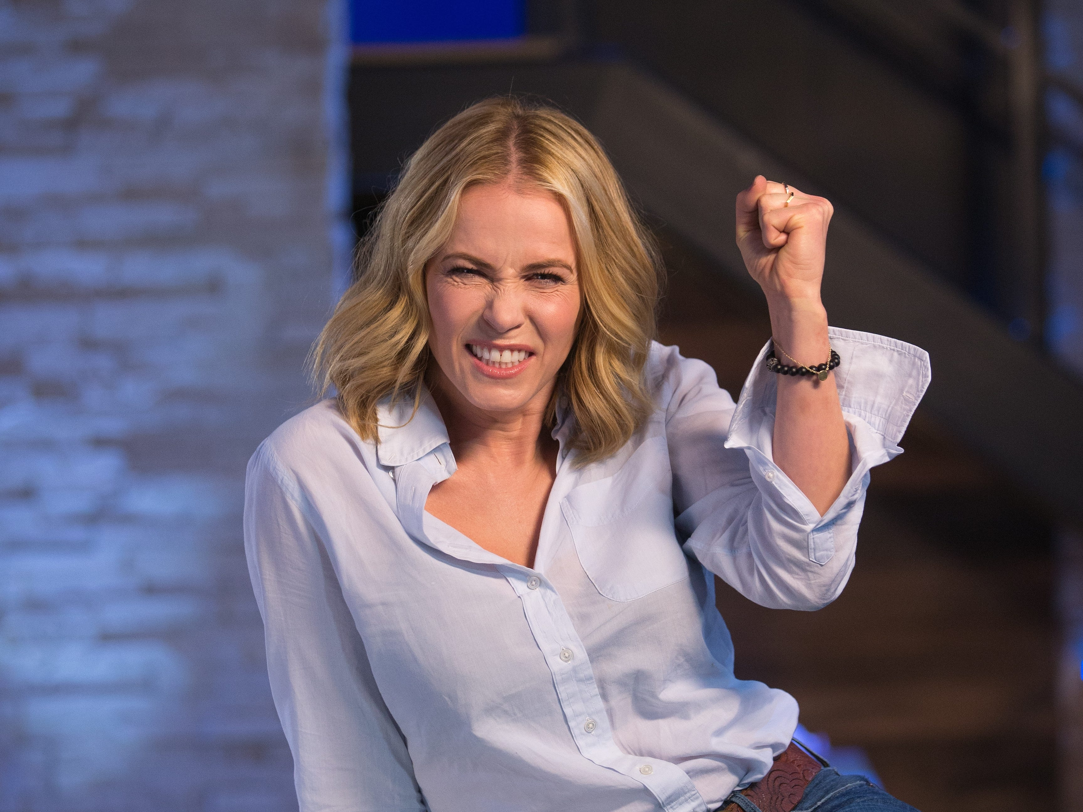 5/4/16 2:51:04 PM -- Culver City, CA  -- Chelsea Handler prepares to debut Netflix's first-ever talk show, 'Chelsea.'  Handler is photographed on the set of her new show at Sony Pictures Studios in Culver City, CA--    Photo by Dan MacMedan, USA TODAY contract photographer ORG XMIT:  DM 134860 Chelsea Handler 05/04 [Via MerlinFTP Drop]