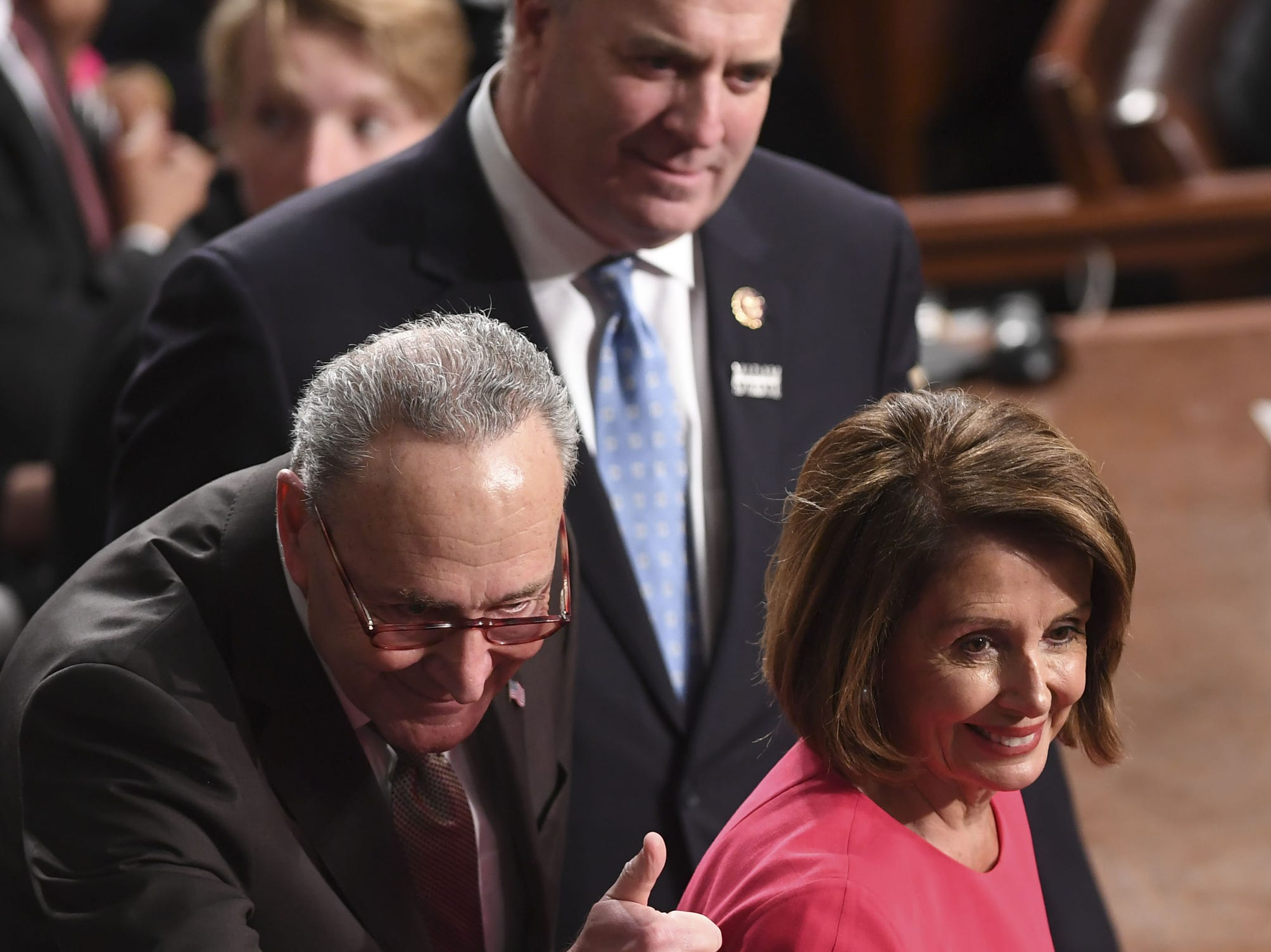 Incoming Speaker of the House Nancy Pelosi, D-CA, and Senator Chuck Schumer, D-NY, arrive for the beginning of the 116th US Congress.
