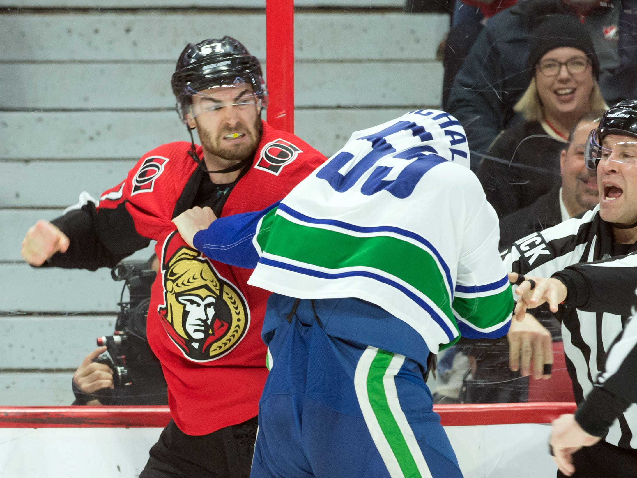 Jan. 2. Ottawa Senators' Ben Harpur vs. Vancouver Canucks' Tim Schaller