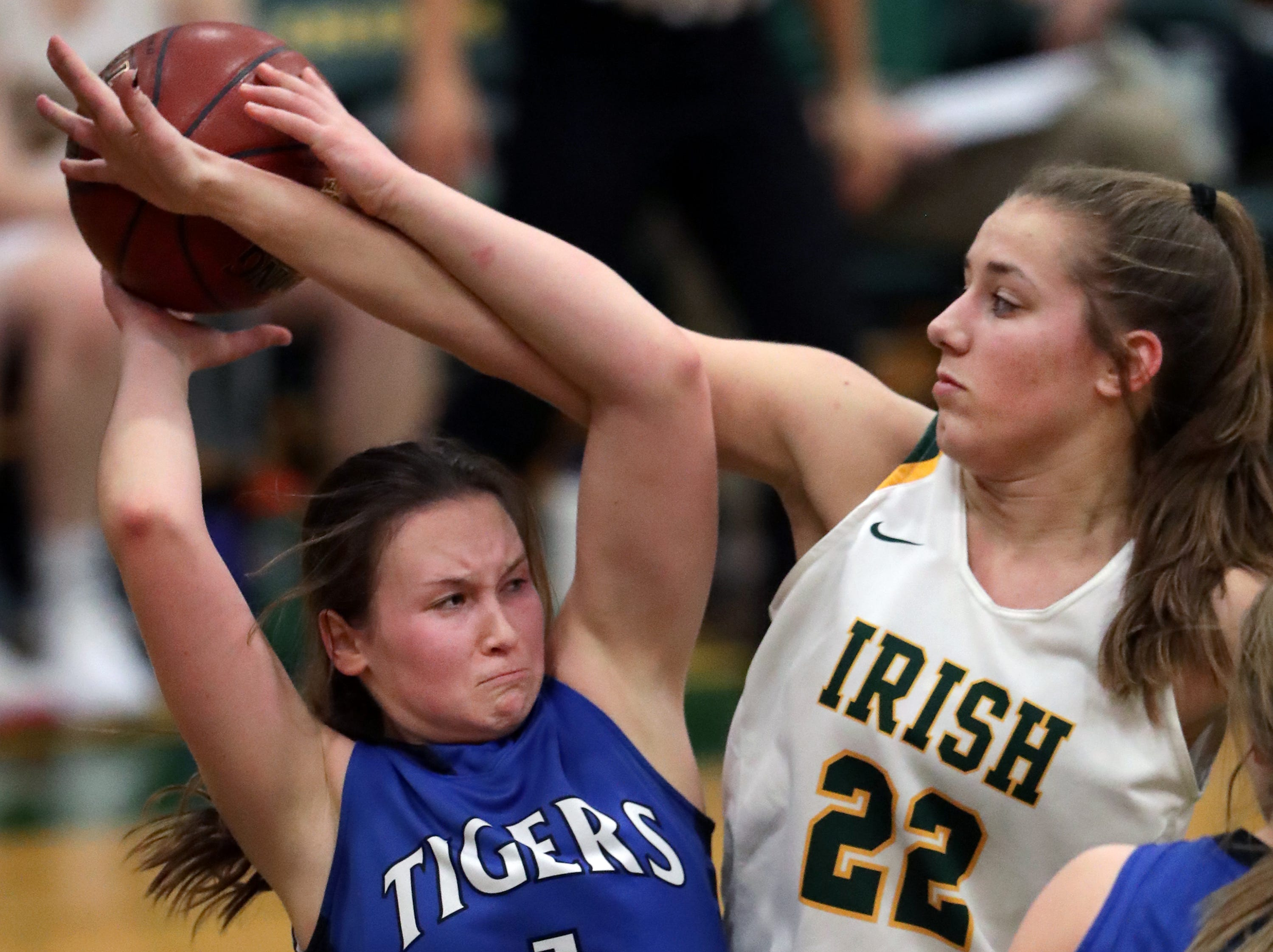 Freedom High School's #22 Taylor Haase against Wrightstown High School's #1 Bridget Froehlke during their North Eastern Conference girls basketball game on Thursday, January 3, 2019, in Freedom, Wis. Freedom defeated Wrightstown 54 to 34.Wm. Glasheen/USA TODAY NETWORK-Wisconsin.