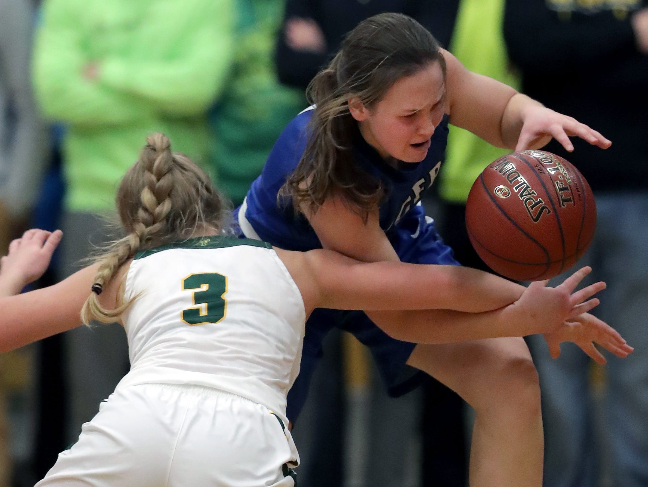 Wrightstown High School's #1 Bridget Froehlke against Freedom High School's #3 Kenidee Kroening during their North Eastern Conference girls basketball game on Thursday, January 3, 2019, in Freedom, Wis. Freedom defeated Wrightstown 54 to 34.Wm. Glasheen/USA TODAY NETWORK-Wisconsin.