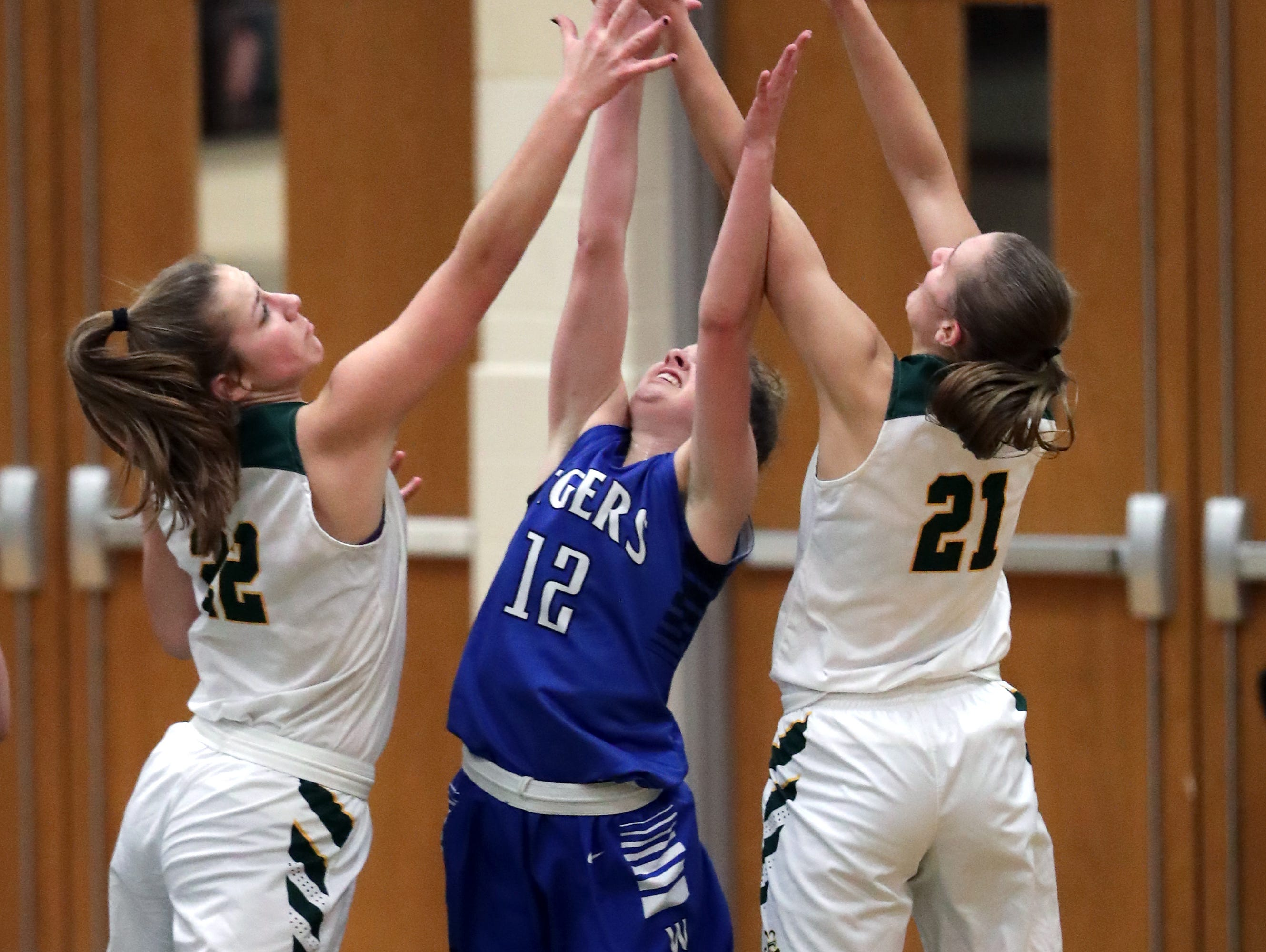 Freedom High School's #22 Taylor Haase and #21 Callie Genke against Wrightstown High School's #12 Meghan Riha during their North Eastern Conference girls basketball game on Thursday, January 3, 2019, in Freedom, Wis. Freedom defeated Wrightstown 54 to 34.Wm. Glasheen/USA TODAY NETWORK-Wisconsin.