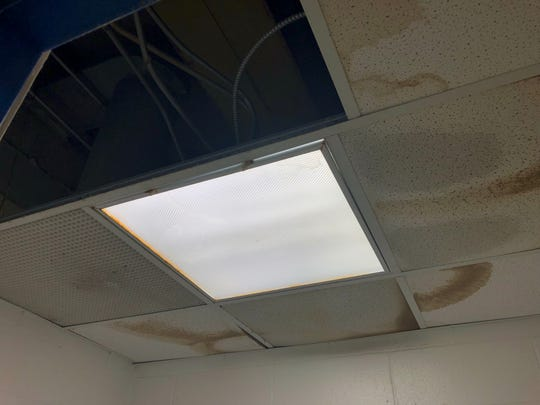 Stained, leaky ceiling at Toms River High School North