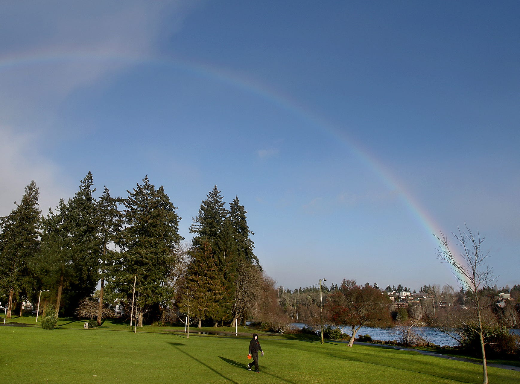 A rainbow appears during a break in the rain at Evergreen-Rotary Park in Bremerton on Friday, January, 4, 2019.