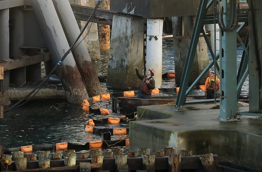 About 500 steel piles, each 150 feet long, will support the new Colman Dock in Seattle.