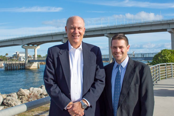 Martin Smithson, left, who has served as the Sebastian Inlet District's administrator for the past 14 years, will be retiring from the agency, and will be replaced by James Gray Jr., right.