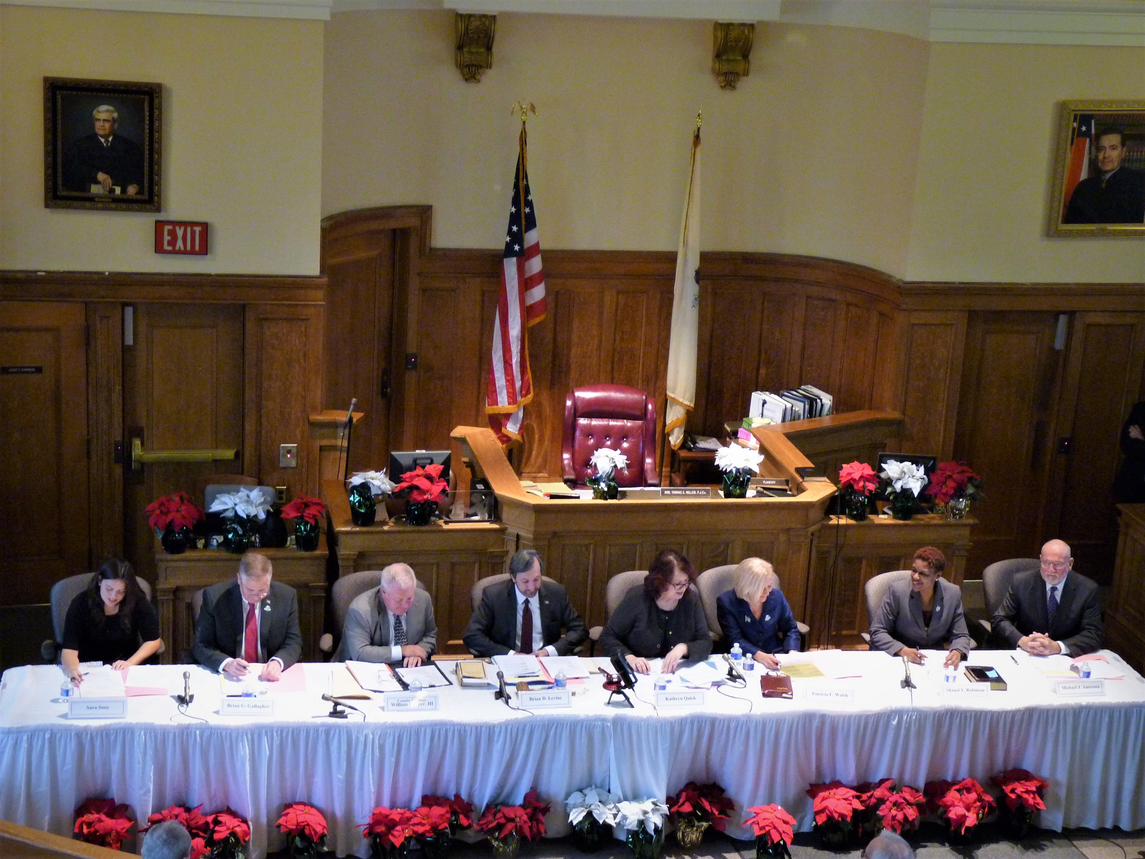 The Somerset County Board of Chosen Freeholders at its 2019 reorganization meeting in Somerville on Jan. 4, 2019.