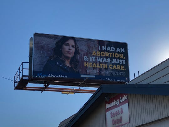 An undated photo shows a Planned Parenthood billboard in Iowa.
