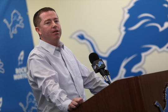 Detroit Lions general manager Bob Quinn at his news conference at the practice facility in Allen Park on Friday, January 4, 2019.