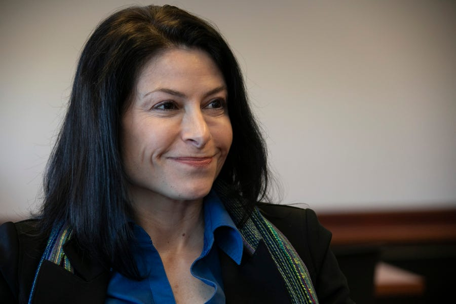 Michigan Attorney General Dana Nessel talks about her plans Friday Jan. 4, 2019, at her new office in Lansing.