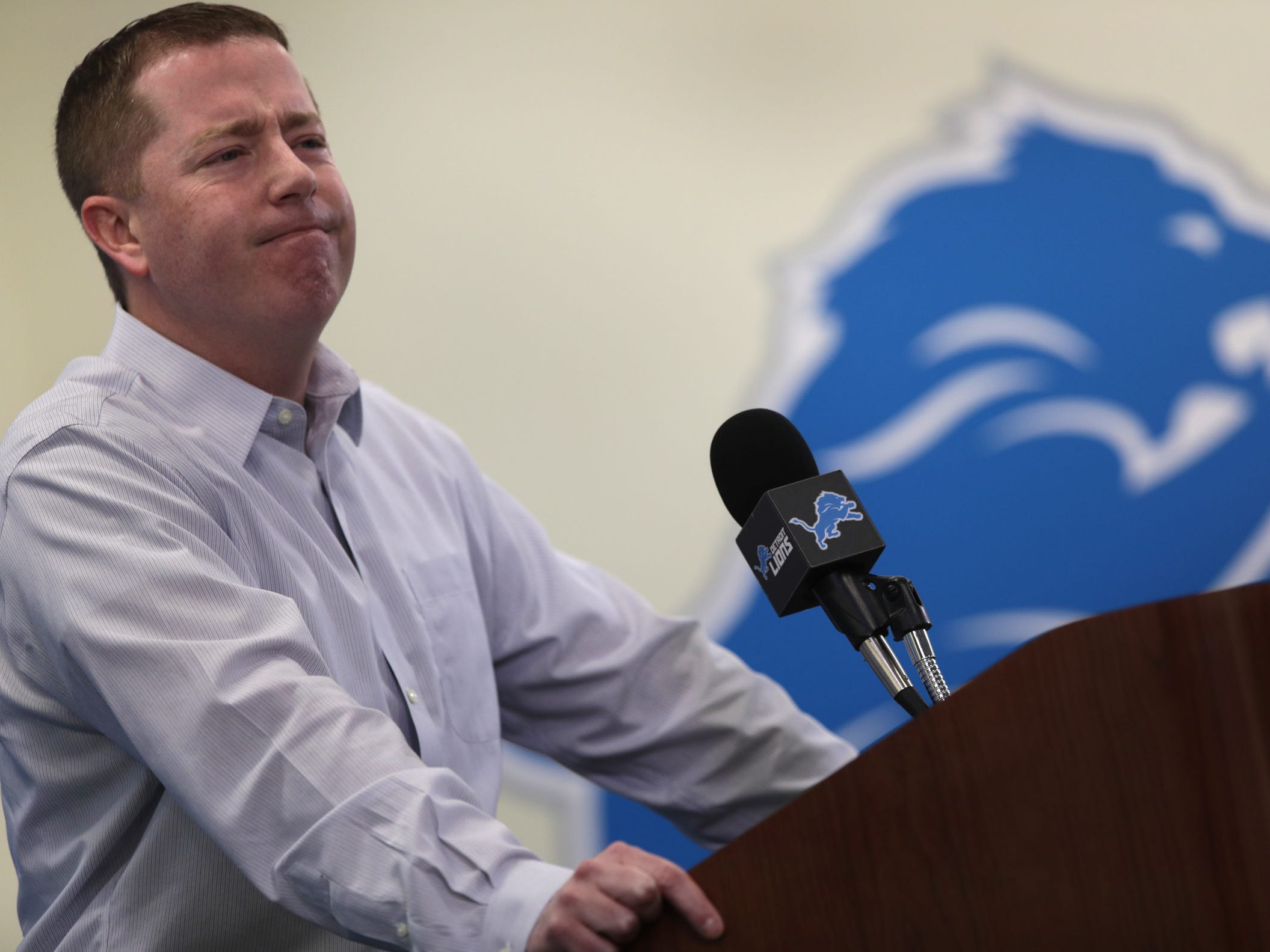 Detroit Lions general manager Bob Quinn during his news conference at the practice facility in Allen Park on Friday, Jan. 4, 2019.