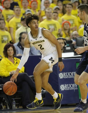 Michigan guard Jordan Poole drives against Penn State during second half action Thursday, January 3, 2019 at the Crisler Center in Ann Arbor, Mich.