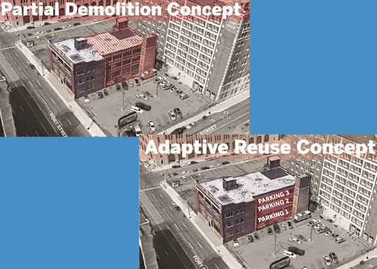 Two options the City of Detroit presented to Emmett Moten for the old Detroit Saturday Night building to avoid full demolition.