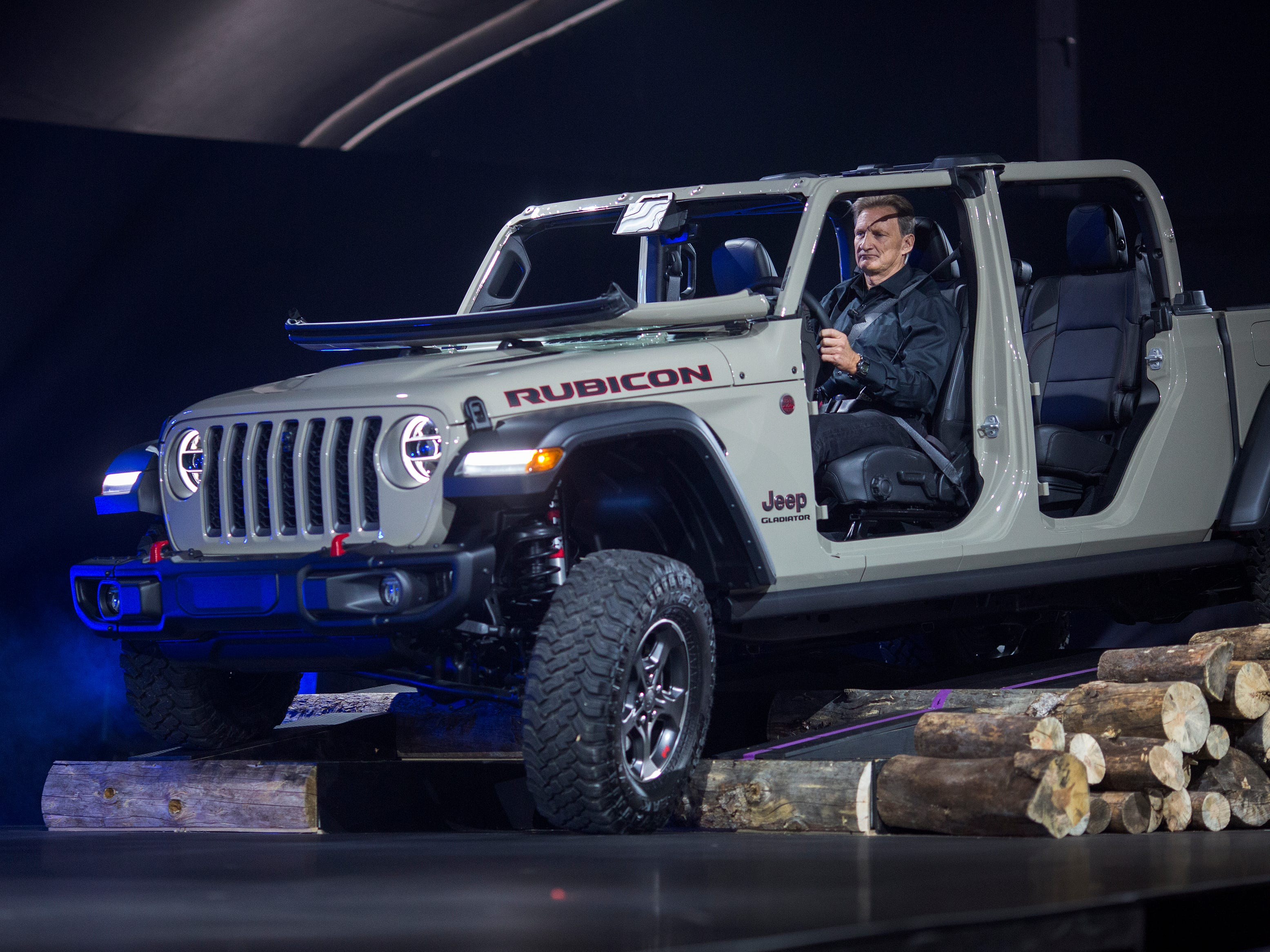 The Gladiator starts out, as you might expect, using a modified Wrangler platform, adding such Wrangler-like features as a fold-down windshield and removable doors. Look for a wide range of variants, including the off-road-ready Jeep Gladiator Rubicon, shown here.