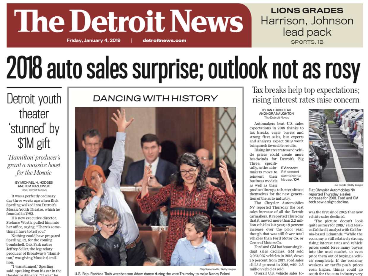 The front page of The Detroit News on Friday, January 4, 2019
