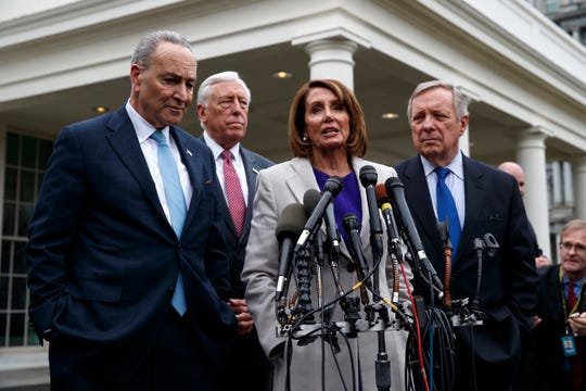 Speaker of the House Nancy Pelosi, D-Calif., speaks to reporters after meeting with President Donald Trump about border security in the Situation Room of the White House, Friday, Jan. 4, 2019, in Washington. From left, Senate Minority Leader Chuck Schumer, D-N.Y., House Majority Leader Steny Hoyer of Md., Pelosi, and Sen. Dick Durbin, D-Ill.