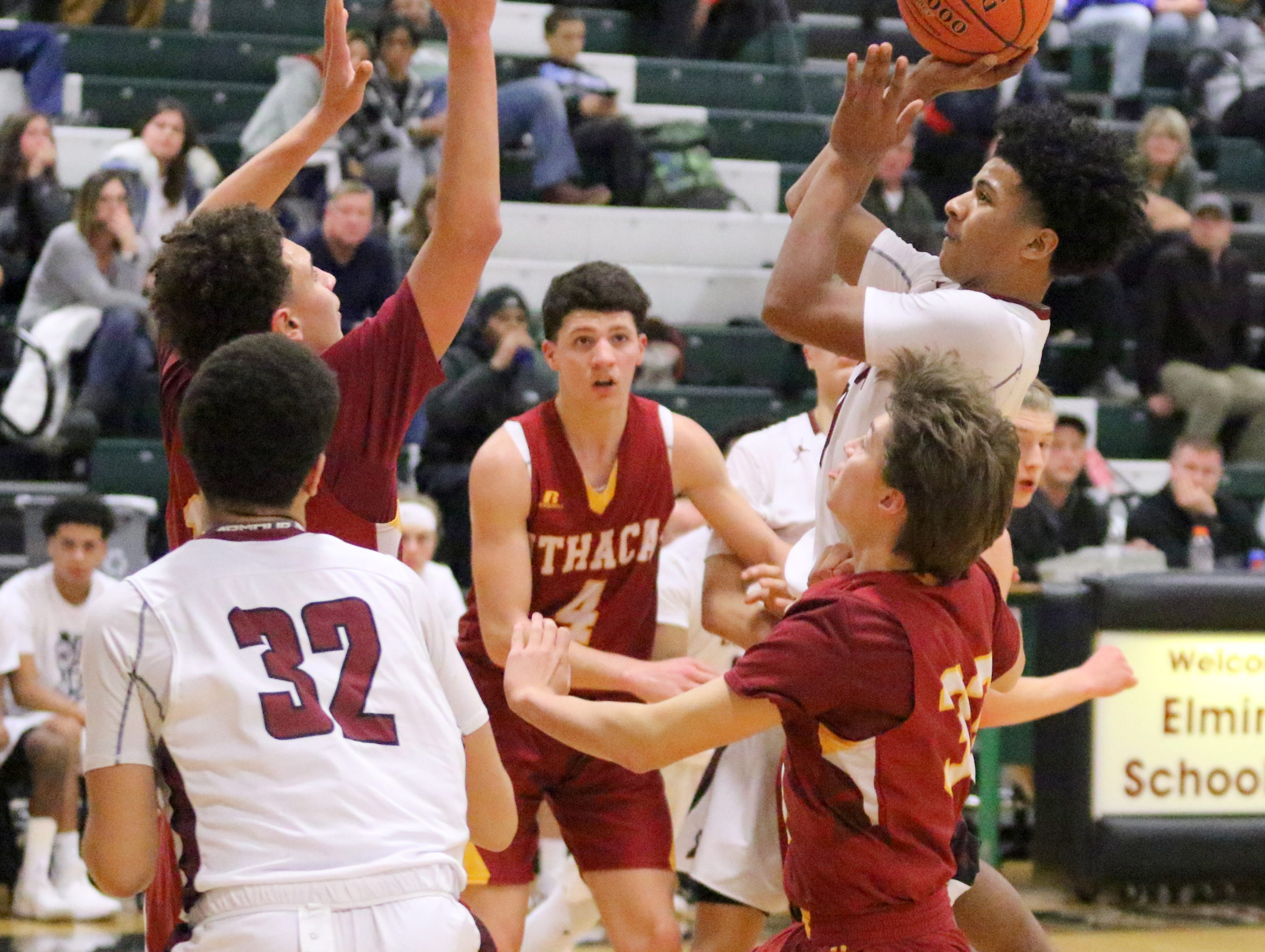 Ithaca was a 46-44 winner over Elmira in boys basketball Jan. 3, 2019 at Elmira High School.