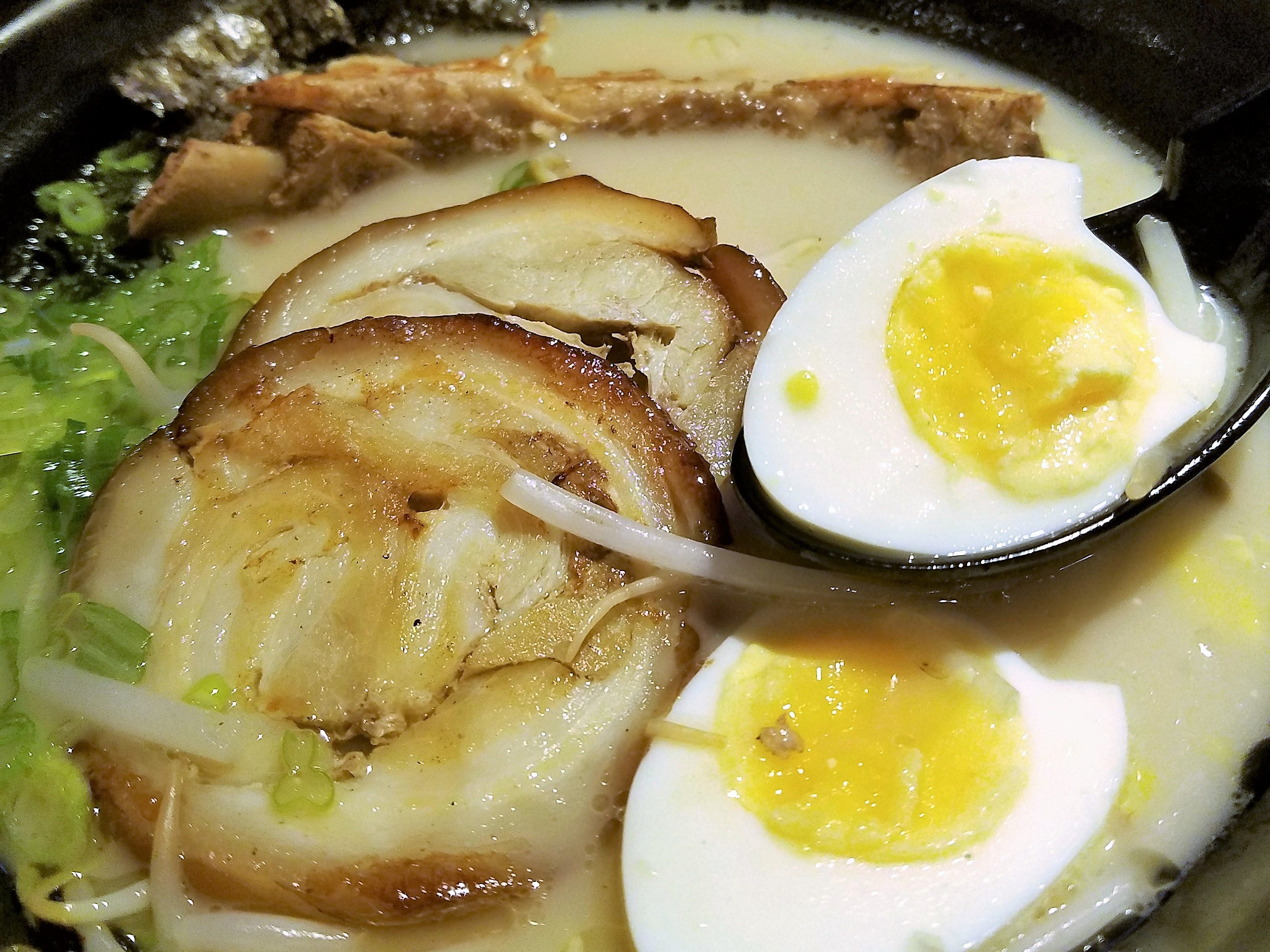 Tonkotsu ramen at Domo, topped with long-simmered pork stock, chashu pork belly, boiled egg, scallion, a pork rib and crispy seaweed.