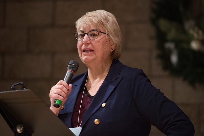 Cathy Kipp gives a speech to the committee deciding who will represent House District 52 in the Colorado Legislature during a vacancy committee meeting at Fort Collins Unitarian Church on Thursday, January 3, 2019.